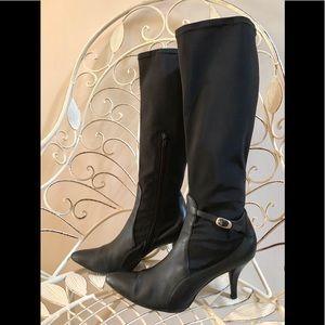 NINE WEST Black Leather Stiletto Hug Me Boots
